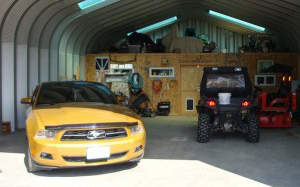 Steel Garage Building Kit, Yellow Ford Mustang and ATV
